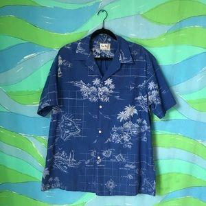 VINTAGE HAWAIIAN SHIRT blue white map print